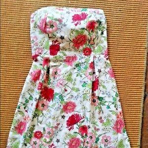 Floral print strapless Dress Elastic Back, Sz 4